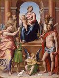 La Madonna in trono col Bambino, i Santi Romualdo, Sebastiano, Bernardino da Siena e l'Arcangelo Raffaeele con Tobiolo