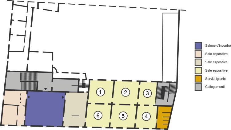 Palazzo Romagnoli mappa piano primo